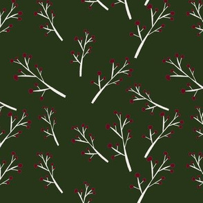 White Branches, Red Berries on Dark Green