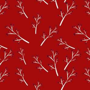 White Branches, Red Berries on Red