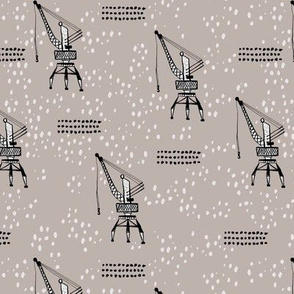 Cool port industry heavy lifting crane harbor illustration boys fabric in beige