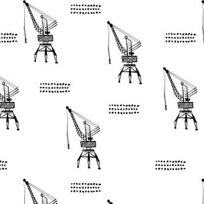 Cool port industry heavy lifting crane harbor illustration boys fabric in monochrome black and white