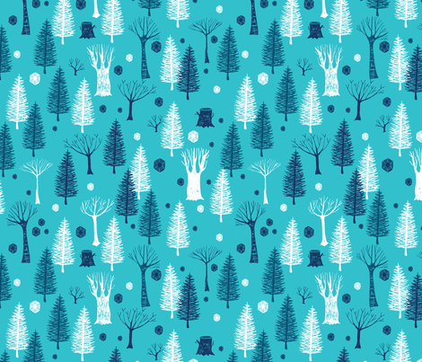 Arctic Jeweled Ice Forest fabric by scarlette_soleil on Spoonflower - custom fabric