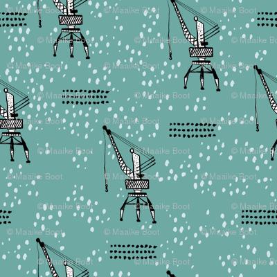 Cool port industry heavy lifting crane harbor illustration boys fabric in blue