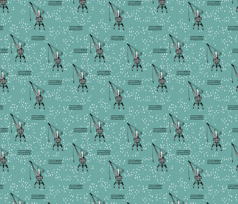 Cool port industry heavy lifting crane harbor illustration boys fabric in blue fabric by littlesmilemakers on Spoonflower - custom fabric