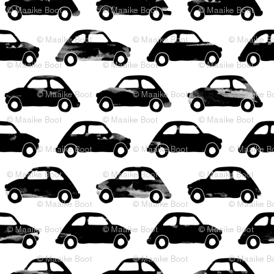 Vintage watercolor traffic series italian cars monochrome black and white
