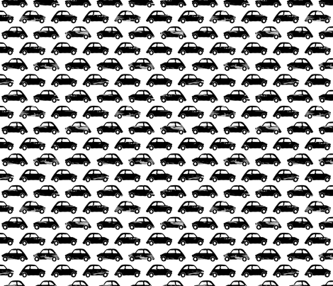 Vintage watercolor traffic series italian cars monochrome black and white fabric by littlesmilemakers on Spoonflower - custom fabric