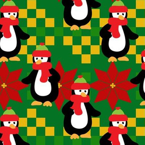 PENGUINS-POINSETTIA-GREEN