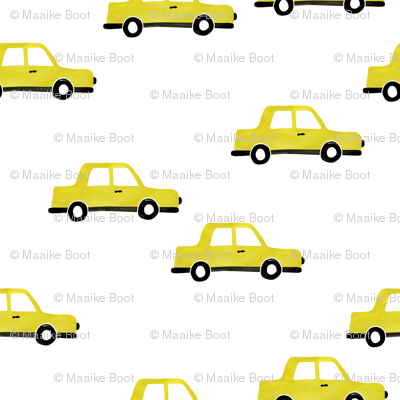 Cool watercolors New York taxi cab cars traffic design for kids yellow