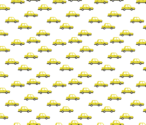 Cool watercolors New York taxi cab cars traffic design for kids yellow fabric by littlesmilemakers on Spoonflower - custom fabric