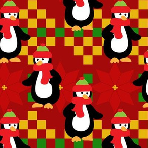 PENGUINS-POINSETTIA-RED