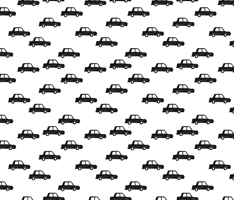 Cool watercolors London taxi cab cars traffic design for kids monochrome black and white fabric by littlesmilemakers on Spoonflower - custom fabric