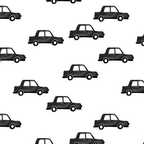 Cool watercolors London taxi cab cars traffic design for kids monochrome black and white