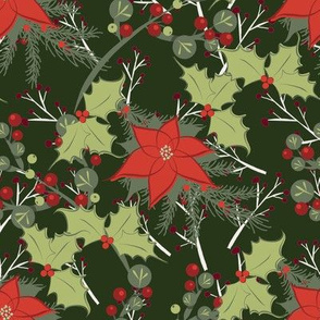 Poinsettias and Holly on Green