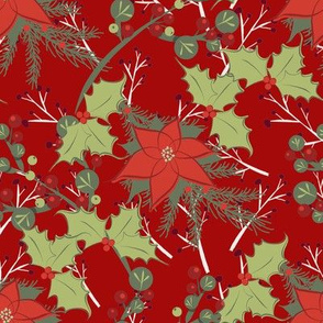 Poinsettia and Holly Leaves on Red