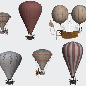 Vintage hot air balloons steampunk brown and grey