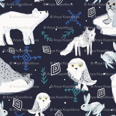 arctic animals in the night greenrainart