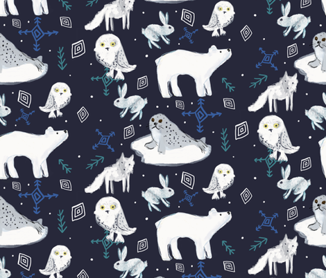 arctic animals in the night greenrainart fabric by greenrainart on Spoonflower - custom fabric