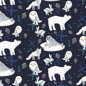 arctic animals in the night greenrainart