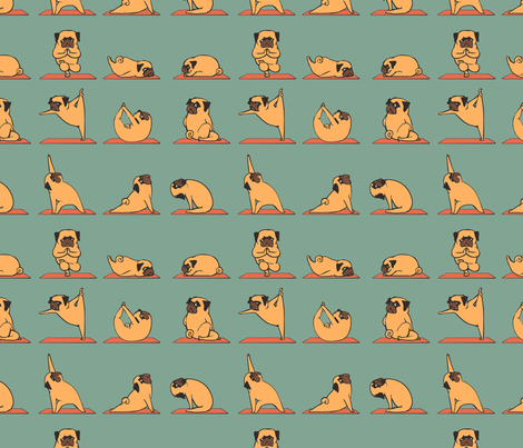 Pug Yoga fabric - huebucket - Spoonflower 496b869319