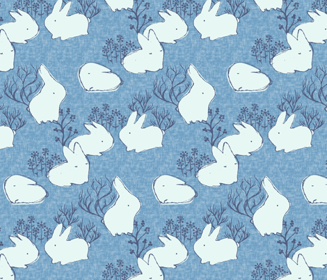Arctic Hare {Blue} fabric by ceciliamok on Spoonflower - custom fabric