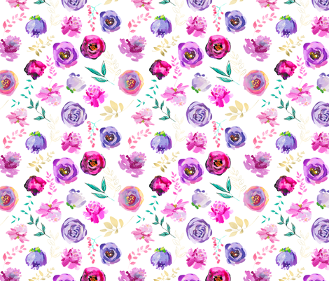 """Purple and Gold Floral Toss 8"""" fabric by greenmountainfabric on Spoonflower - custom fabric"""