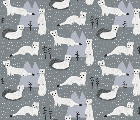 the Curious Ermine fabric by anita_prints on Spoonflower - custom fabric