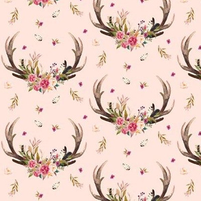 Antlers & Flowers (warm pink) - Pink Floral Feathers Deer Antler Baby Girl Nursery Crib Sheets Bedding  B