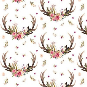 Antlers & Flowers - Pink Floral Feathers Deer Antler Baby Girl Nursery Crib Bedding B