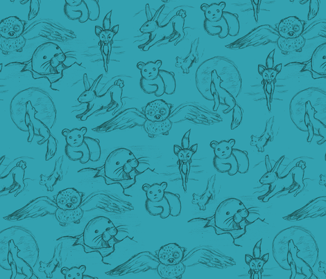 Artic Menagerie Teal fabric by chappy_and_neko on Spoonflower - custom fabric