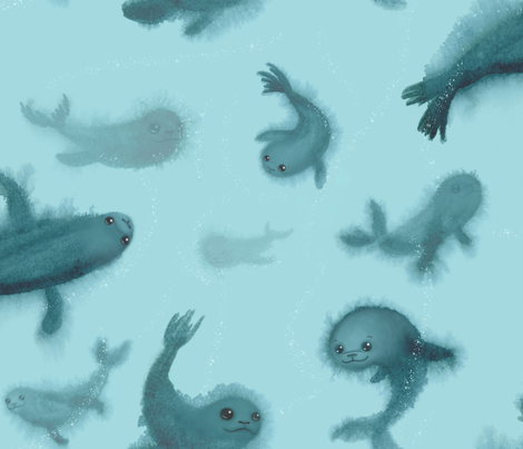 Family of Seals Swimming in Arctic Sea fabric by pinmintprint on Spoonflower - custom fabric
