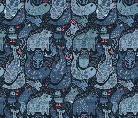 Arctic animals. Polar bear, puffin, whales, seal, owls, bunny. fabric by kostolom3000 on Spoonflower - custom fabric