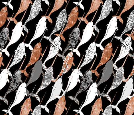 Narwhal Copper and Gray  fabric by pond_ripple on Spoonflower - custom fabric