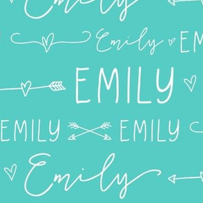Girls Personalized Name // Turquoise and White Doodles - Emily