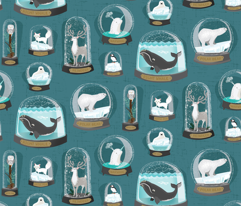 climate change snowglobes fabric by michaelzindell on Spoonflower - custom fabric