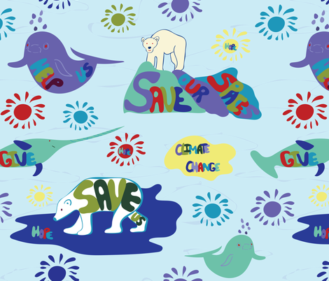 Save Us Arctic animals fabric by cleolovescolor on Spoonflower - custom fabric