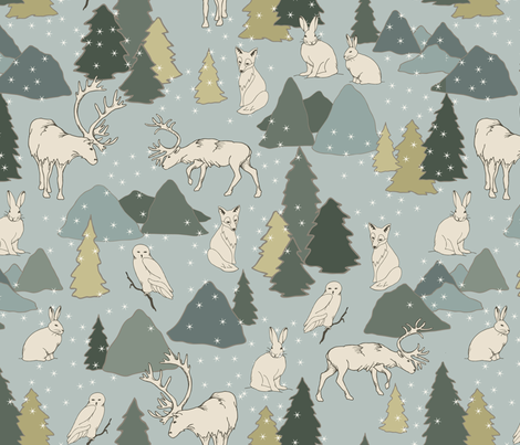 Arctic Animals fabric by fernlesliestudio on Spoonflower - custom fabric