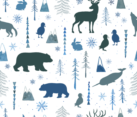 Arctic Animals fabric by ldpapers on Spoonflower - custom fabric