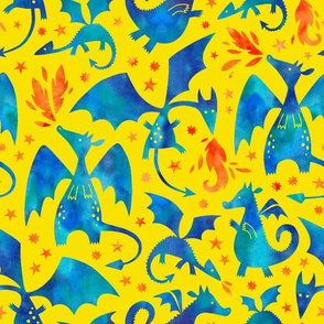 Fire dragons in blue watercolors on yellow