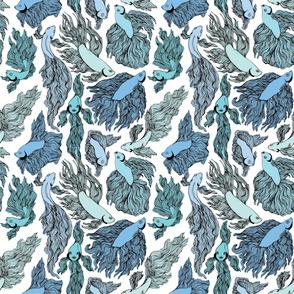 Blue Beta Fish Pattern