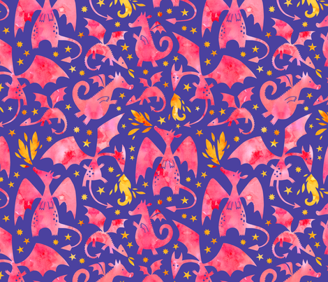Fire dragons in pink watercolors on purple fabric by heleen_vd_thillart on Spoonflower - custom fabric