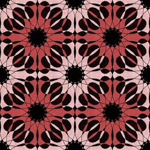 abstract geometric flowers in red