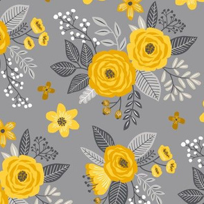 Vintage Antique Floral Flowers Yellow on Grey