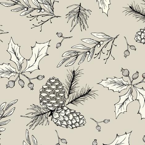 Twiggy Bits - Cream 1 fabric by fernlesliestudio on Spoonflower - custom fabric