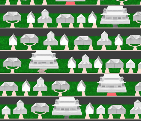 Origami Neighborhood (with McMansions) fabric by anneostroff on Spoonflower - custom fabric