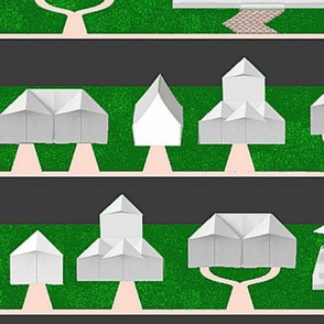 Origami Neighborhood (with McMansions)