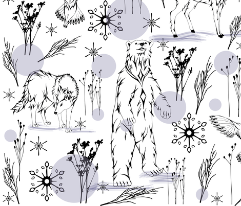 Arctic Snow Globe (wrapping paper) fabric by chelyans_designs on Spoonflower - custom fabric