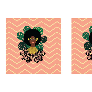 """Afro Blossom Placement Print  21""""x 21"""""""