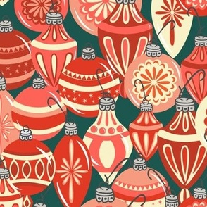 Ornaments Red - Dark Teal
