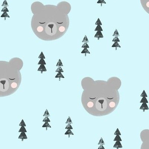 baby bear with trees - light blue