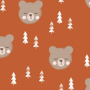 baby bear with trees - adventure orange