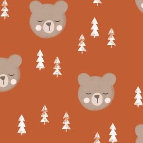 baby bear with trees - adventure orange